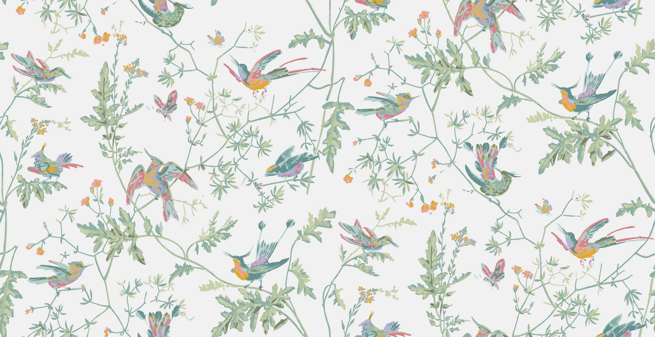 Tapeta Cole and Son Hummingbirds Pastel Multi