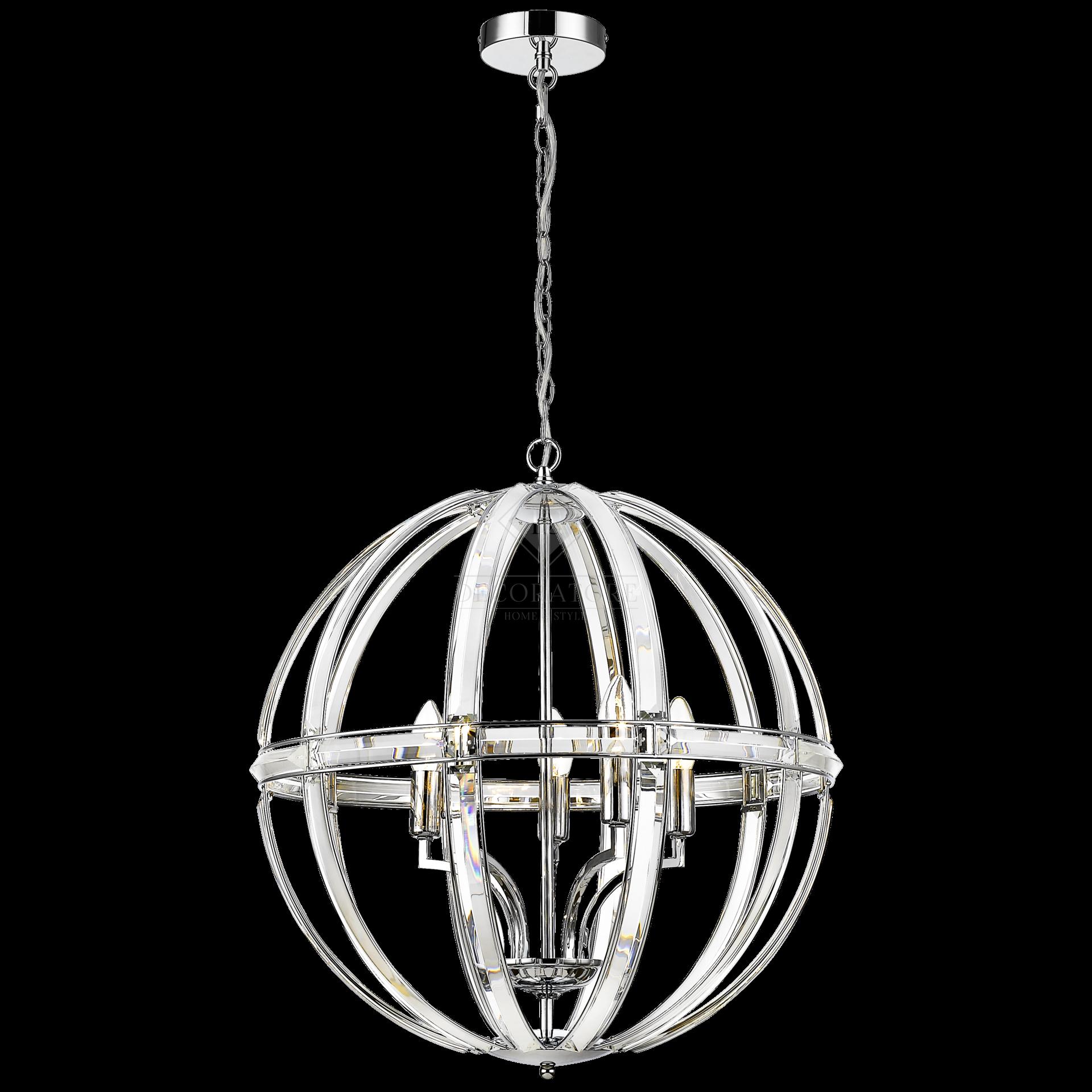 Lampa Sufitowa Wisząca Orlando II Chrom, Kryształ 62,1x62,1x69,4cm