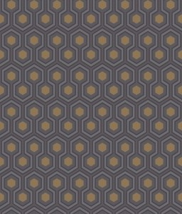 Tapeta Cole and Son Hicks' Hexagon Grey/Gold/Charcoal