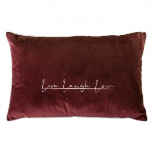Poduszka Live Laugh Love Bordo 35x55cm